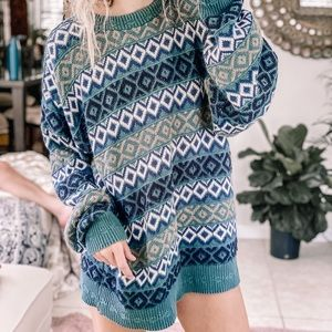 Teal + Taupe Eclectic vtg chunky boyfriend sweater